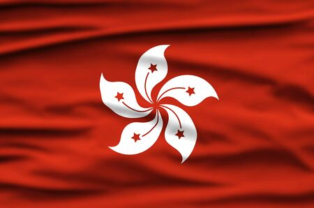Hong Kong National Holiday. Hong Kong Flag background with white stylized five-petal orchid tree flower. Stok Fotoğraf