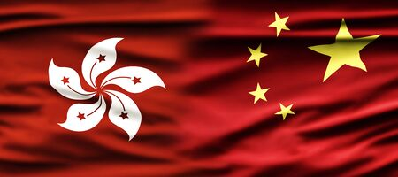 Political relationships. Hong Kong and Chinese Flag. Partnership and conflicts. Zdjęcie Seryjne