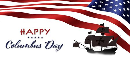 American National Holiday. US Flag background with Santa Maria. Text: Happy Columbus Day. Reklamní fotografie