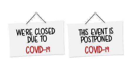 Biology and science. We're closed or postponed sticker.  Virus or bacteria cells. Global alert. Epidemic.