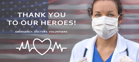 Biology and science. COVID-19. Thanks for the heroes concept. Doctor illustration with USA flag background. Togehter. Stay home.