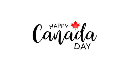 Canadian National Holiday. 1 July. Happy Canada Day greeting card. Celebration background with Canadian flag.