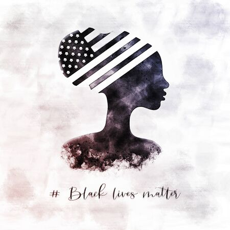 American National Holiday. Silhouette of black woman. US flag. Every life matters. Black lives matter.