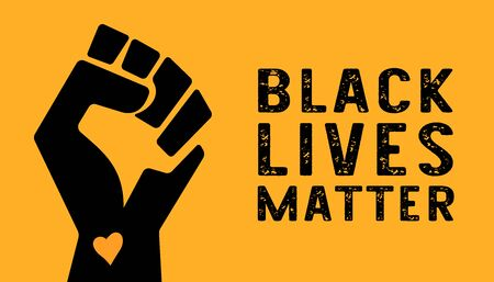 American National Holiday. Raised hand with heart on yellow background. Black lives matter.