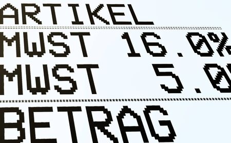 Duty and taxes. German tax cut on value-added tax (VAT). Receipt or invoice. Article, VAT and amount (in German).  Stock Photo