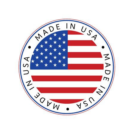 American National Holiday. Made in USA icon. US Flags with American stars, stripes and national colors. Illustration