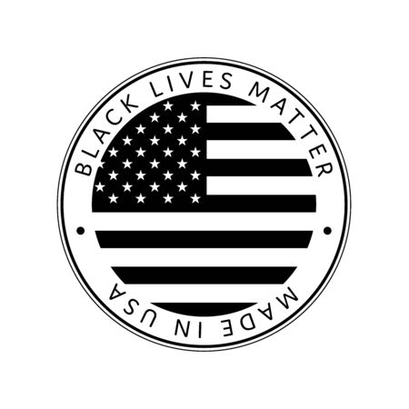 American National Holiday. Made in USA icon. US Flags with American stars, stripes and national colors. Black lives matter. Illustration