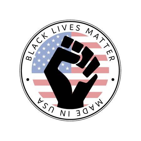 American National Holiday. Made in USA icon. Raised hand. US Flags with American stars, stripes and national colors. Black lives matter.