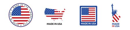 American National Holiday. Set of Made in USA icons. US Flags with American stars, stripes and national colors.