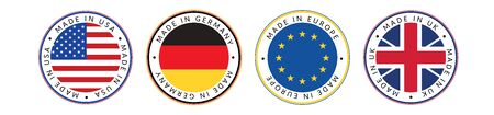 Made in. Set of Made in USA, Germany, Europe and UK in National colors. Illustration