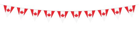 Canadian National Holiday. 1 July. Happy Canada Day greeting card. Celebration background with Canadian flag. Banner. Garlands. Pennants.