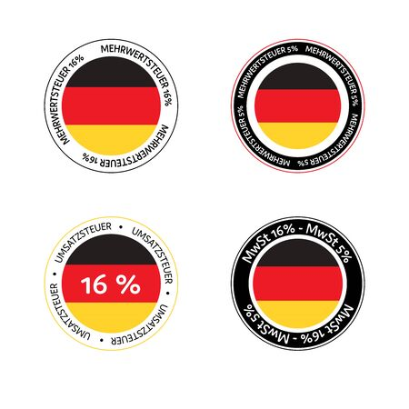 German tax cut on value-added tax (VAT). Set of German VAT icons in National colors. Stock Illustratie