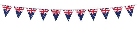 Australia National Holiday. Australia Flags with stripes and national colors. Memorial Day. Banner. Garlands. Pennants.