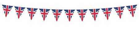 British National Holiday. British Flags with stripes and national colors. Union Jack. Memorial Day. Banner. Garlands. Pennants. Illustration
