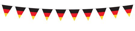 German National Holiday. German Flags with stripes and national colors. Unification. Memorial Day. Banner. Garlands. Pennants. Stock Illustratie
