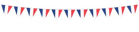 French National Holiday. French Flags with stripes and national colors. Tricolor.  14th July. Banner. Garlands. Pennants.