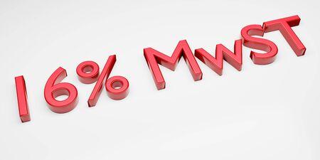 Duty and taxes. German tax cut on value-added tax (VAT). 3D render of 16 percent symbol. Archivio Fotografico