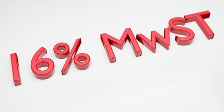 Duty and taxes. German tax cut on value-added tax (VAT). 3D render of 16 percent symbol. Stockfoto