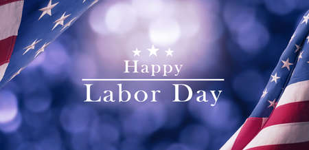 American National Holiday. US Flags with American stars, stripes and national colors. Happy Labor Day.