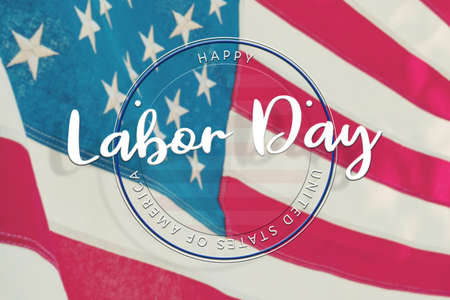 American National Holiday. US Flags with American stars, stripes and national colors.  Happy Labor Day. 免版税图像