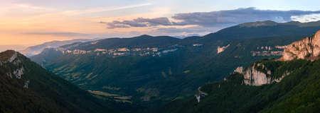 French landscape. Summer landscape of the mountain chain Vercors in France. Col de la bataille. 免版税图像