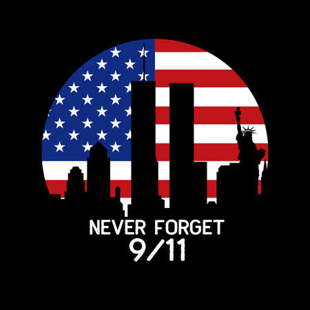 American National Holiday. US Flag background with American stars, stripes and national colors. New York. Text: NEVER FORGET 9/11 免版税图像