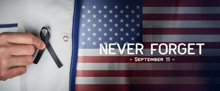American National Holiday. US Flag background with American stars, stripes and national colors. New York. Text: NEVER FORGET  - September 11 -