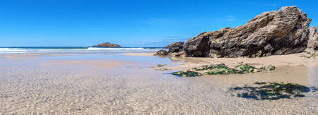 French landscape - Bretagne. A beautiful beach with rocks at low tide. Panoramic view.