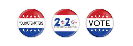 US Presidential Election. USA election banner with US symbols and colors. Campaign buttons. Patriotic stars. Vote. United States of America Election design.