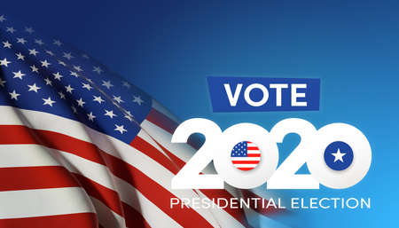 US Presidential Election. USA election banner with US symbols and colors. Patriotic stars. Vote. United States of America Election design.