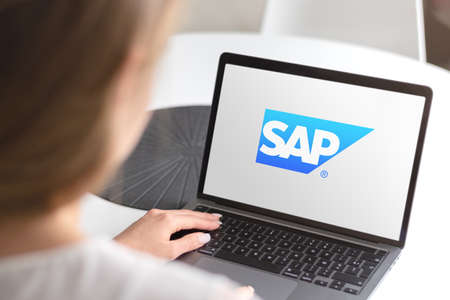Guilherand-Granges, France - October 08, 2020. Smartphone with SAP logo. German multinational software cooperation. ERP and CRM software. Stok Fotoğraf - 158370345