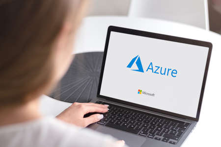 Guilherand-Granges, France - October 28, 2020. Notebook with Microsoft Azure logo. Cloud computing service created for building, testing, deploying, and managing applications and services. Editöryel