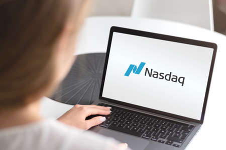 Guilherand-Granges, France - October 09, 2020. Notebook with Nasdaq logo. Stock exchange in the USA. Editöryel