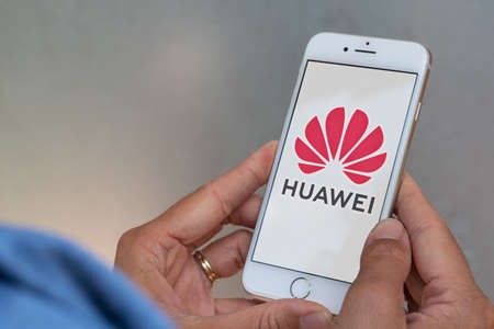 Guilherand-Granges, France - June 16, 2020. Smartphone with Huawei logo. Huawei Technologies Co. Ltd. Chinese multinational telecommunication and electronics manufacturer. Stok Fotoğraf - 158370335