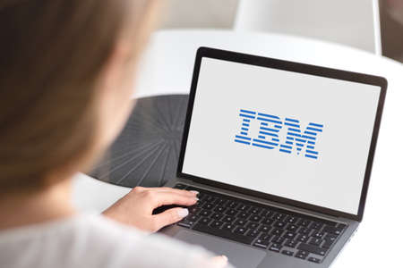 Guilherand-Granges, France - October 09, 2020. Notebook with IBM logo. American multinational technology company. Computer hardware, middleware and software. Hosting and consulting services. Nanotechnology. Stok Fotoğraf - 158370327