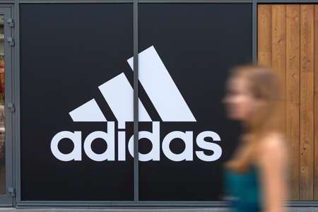 Lyon, France - August 29, 2020. Front view of Adidas store. German multinational corporation. Largest sportswear manufacturer in Europe. Stok Fotoğraf - 158370336