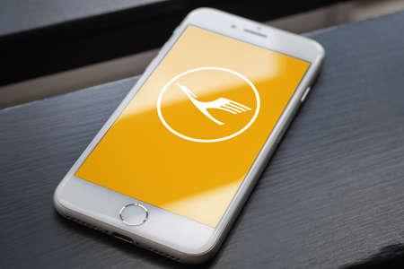 Guilherand-Granges, France - June 16, 2020. Smartphone with Lufthansa app logo. Deutsche Lufthansa AG is the largest German airline. Editorial