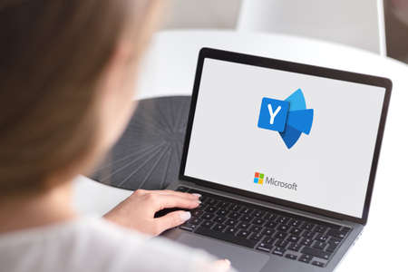 Guilherand-Granges, France - October 28, 2020. Notebook with Microsoft Yammer logo. Freemium enterprise social networking service used for private communication within organizations. Editöryel