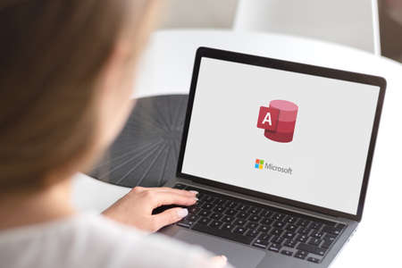 Guilherand-Granges, France - October 28, 2020. Notebook with Microsoft Access logo. Database management system (DBMS) from Microsoft.