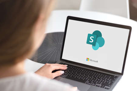 Guilherand-Granges, France - October 28, 2020. Notebook with Microsoft SharePoint logo. Web-based collaborative platform that integrates with Microsoft Office.