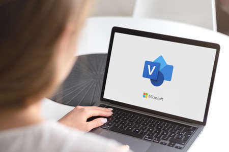 Guilherand-Granges, France - October 28, 2020. Notebook with Microsoft Visio logo. Diagramming and vector graphics application and is part of the Microsoft Office family. Stok Fotoğraf - 158370320