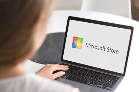Guilherand-Granges, France - October 28, 2020. Notebook with Microsoft Store logo. Digital distribution platform owned by Microsoft. Stok Fotoğraf - 158370321