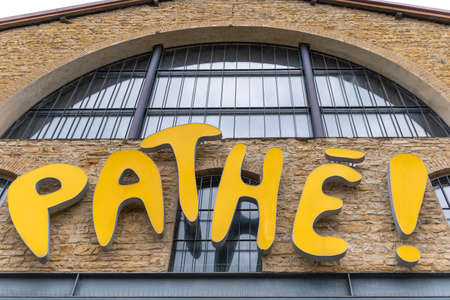 Lyon, France - August 29, 2020. Front view of Pathe cinema. French major film production and distribution company with a number of cinema chains. Stok Fotoğraf - 158370316
