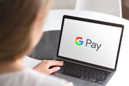 Guilherand-Granges, France - October 08, 2020. Smartphone with Google Pay logo. Digital wallet platform and online payment system. Editorial