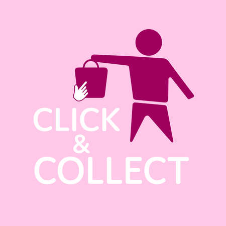 Click and Collect concept. E-commerce click and collect online ordering service symbol. Shopping bag. Shopping cart. Pickup location. Stok Fotoğraf - 158375975