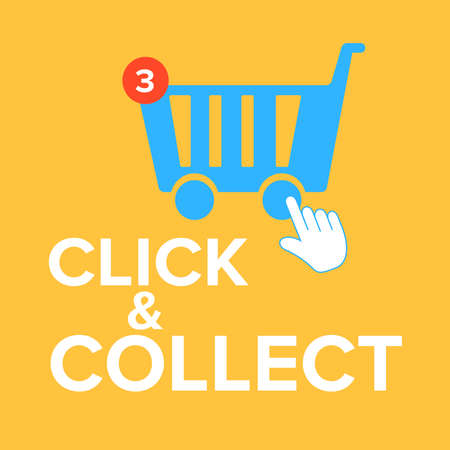 Click and Collect concept. E-commerce click and collect online ordering service symbol. Shopping bag. Shopping cart. Pickup location.