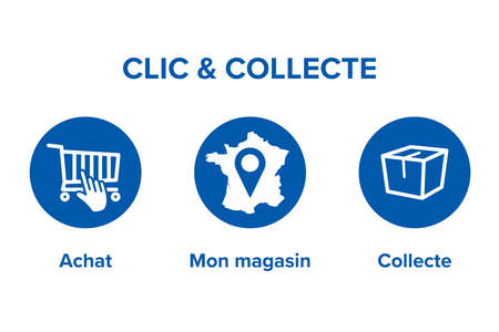 Click and Collect concept France. E-commerce click and collect online ordering service symbol. Shopping bag. Shopping cart. Pickup location in French. Illustration
