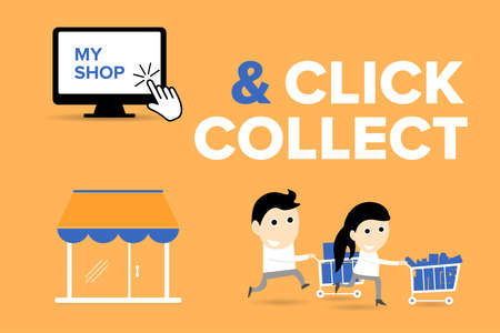 Click and Collect concept. E-commerce click and collect online ordering service symbol. Shopping bag. Shopping cart. Pickup location. Characters. Stok Fotoğraf - 158489870