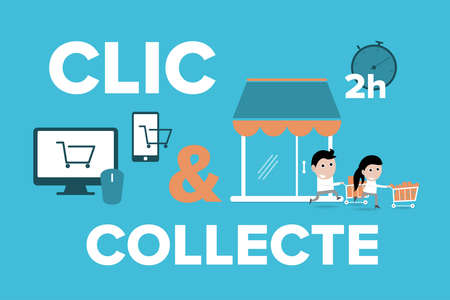 Click and Collect concept. E-commerce click and collect online ordering service symbol. Shopping bag. Shopping cart. Pickup location. Stok Fotoğraf - 158471600