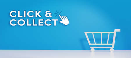 Click and Collect concept. E-commerce click and collect online ordering service symbol. Shopping bag. Shopping cart. Pickup location. 3D Render.
